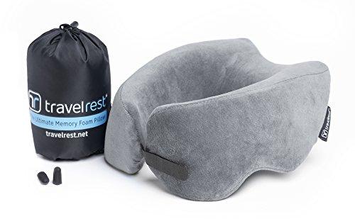 Travelrest Ultimater Memory Foam Reisekissen/Nackenkissen - Therapeutisch, ergonomisch - Waschbarer Bezug - Bequemstes Nackenkissen - kann auf 1/4 Seiner Größe komprimiert Werden (2 Jahre Garantie)