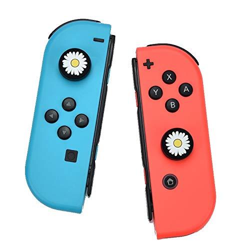1 Paar Joystick Kappen / Aufsatz kompatibel mit Nintendo Switch & Lite - Silikon weich - besserer Grip / Halt - Anti Schwitz Daumen Stick (Blume)