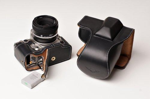 Nikon ニコン Df用本革レンズカバー付カメラケース(50mm用) (電池,SDカード交換可) ブラック、 ブラウン (レンズカバー付ケース, ブラック)