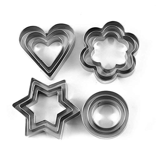ADDCART Cookie Cutter 12Pcs/Set Pastry Fruit Molds Stainless Steel Heart Flower Round Star Biscuit Mould Fondant Cutting Cutters
