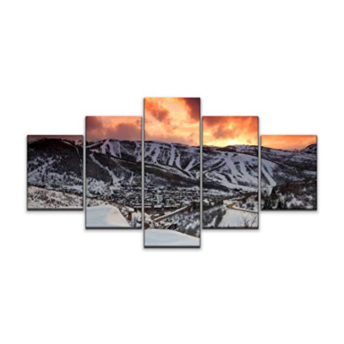 Skipvelo Park City Fiery Sunset Utah Landscapes and Pictures Wall Art Canvas Prints Pictures Paintings Artwork Home Decor Stretched and Framed - 5 Pieces