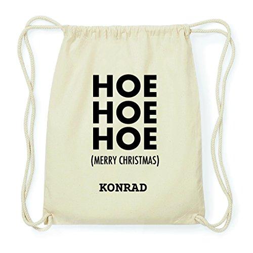 JOllify Turnbeutel Geschenk für Konrad Weihnachten Rucksack aus Baumwolle - Natur: Hoe Hoe Hoe