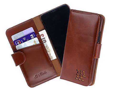 Ed Hicks iPhone SE 2020 Wallet Case, iPhone 8 Card Holder, iPhone 7 Folio – Genuine Leather – Shockproof Colour Matched Phone Holder (new for 2020) – Card Holder – Unique UK Design - Vintage Brown