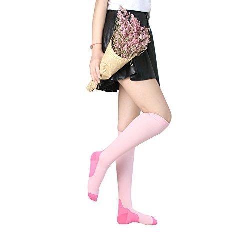 Calzini a compressione graduata per uomo e donna, 20-30mmHg,a compressione moderata per running, crossfit, infermiere, gravidanza e maternità, periostite, HZAGCOMS, Red & Black, S/M
