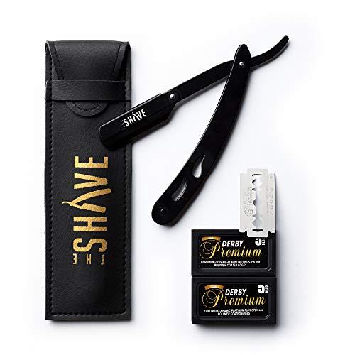 The Shave Rasiermesser mit 10 Derby Double Edge Premium Rasierklingen, Wechselklingen - Bartmesser aus hochwertigem Edelstahl für eine gründliche Nassrasur - inkl. hochwertigem Lederetui