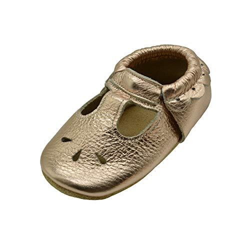 iEvolve Baby Babyschuhe Wildledersohle Baby Lederschuhe Lauflernschuhe Krabbelschuhe Vielzahl Art(Rosenrot Gold Sandale,12-18 Monate)