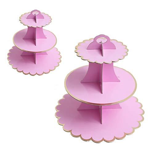 2PCS Alzata per Torta in Cartone, Cupcake Cartone 3 Piani,Espositore per Dolci e Cupcake per Frutta, Cibo,Crostata Uova,Forniture Feste di Compleanno