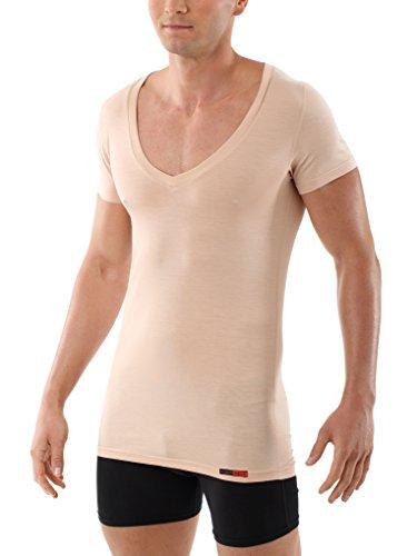 ALBERT KREUZ Camiseta Interior particularmente Ligera para Hombre, Invisible de Color Carne/Piel, de Manga Corta con Cuello de Pico Profundo, de Micromodal elástico 05/M