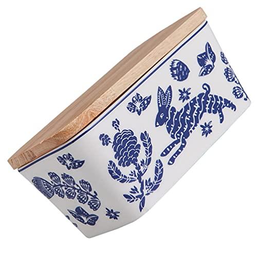 Cabilock Mantequillera de cerámica clásica para mantequilla y mantequilla, 15,2 cm, caja para galletas, color azul y blanco, mantequilla, queso, recipiente para restaurante, hogar, cocina, frigorífico