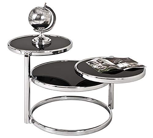 HAKU Möbel Couchtisch - Runder Glastisch mit 3 Flächen in Schwarz, Höhe 50 cm