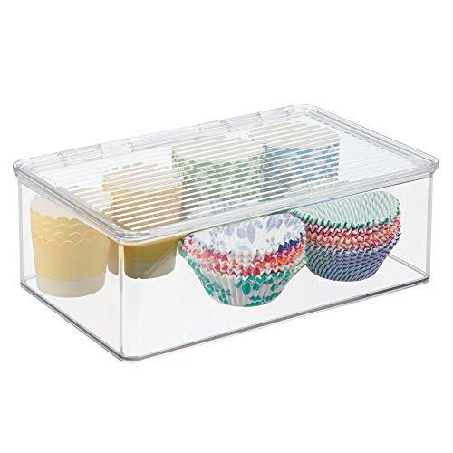 mDesign Fiambrera con tapa para nevera - Recipiente hermético de 3 litros para refrigerador - Envases de plastico para alimentos ideal para comida de bebé - plástico transparente