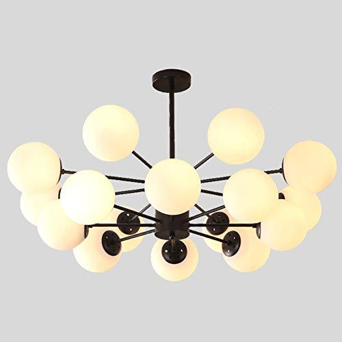 TopJiGlobus Sputnik kroonluchter, E27 moderne Noordse plafonddecoratie, lamp met wit melkglas glazen lampenkap hanglamp voor woonkamer eetkamer slaapkamer