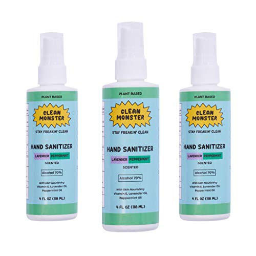 CLEAN MONSTER 4 oz 3 Pack Lavender Peppermint Hand Sanitizer Spray - Made in USA...