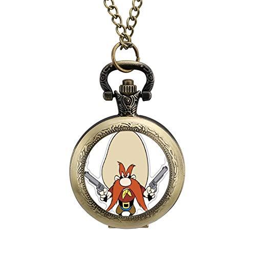 Looney Tunes Yosemite Sam Wearable metal necklace pocket watch, digital scale personalized pattern pocket watch
