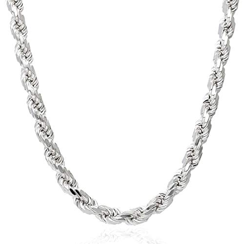 "Solid 925 Sterling Silver Italian Rope Chain Necklace 16""-30"", 1.5 22"