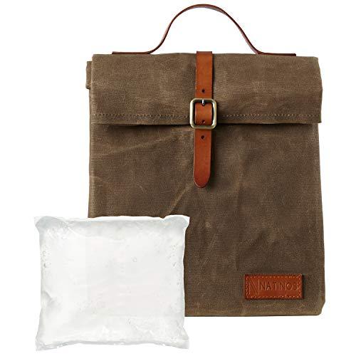 Natinos Lunchtasche - isolierte und wasserdichte Kühltasche inklusive Kühlakku - aus gewachstem Canvas 100% Baumwolle