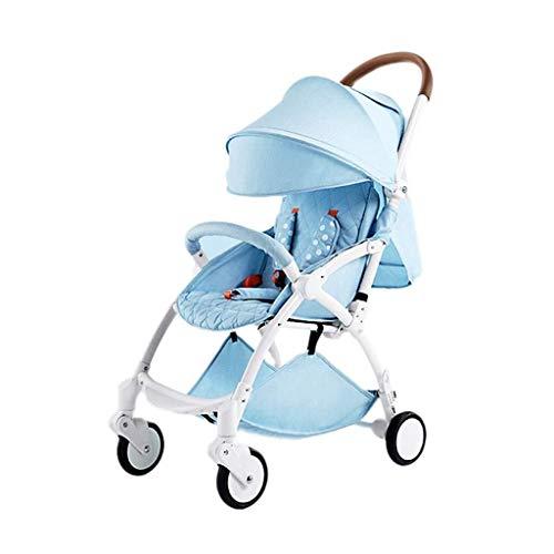 MAMINGBO Cochecito de bebé portátil, plegable Ultra-Light infantil Cochecito de niño de 5 puntos del arnés de seguridad, for el recién nacido y del niño (Color : Azul)