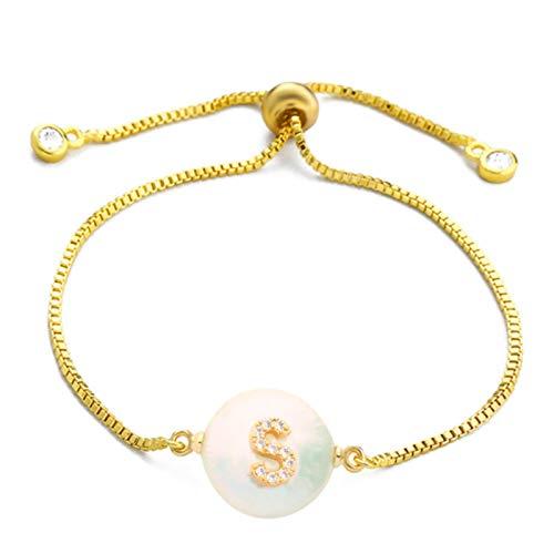LIUL Pulsera de Perlas Naturales del Alfabeto del Encanto de la Moda del Oro Pulsera de la Letra Inicial Micro Pave Pulsera del Nombre de la Pareja Regalo de Las Mujeres 20 CM, S