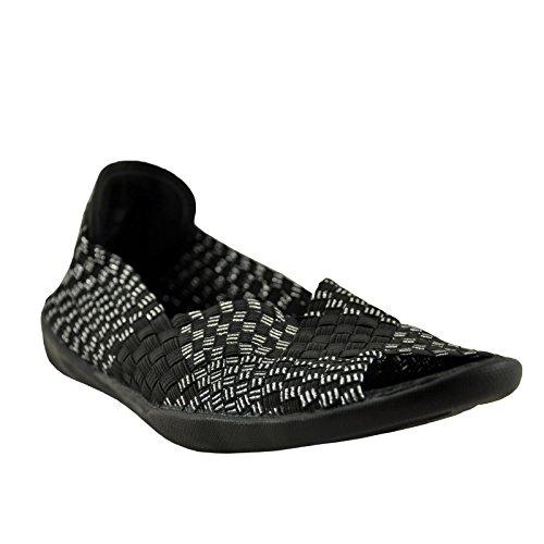 Bernie Mev Women's Dream Slip-On Flats Shoes Open Toe (8.5, Black Lurex)