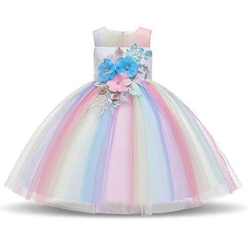 NNJXD Mädchen Tutu Blütenblätter Schleife Brautkleid für Kleinkind Mädchen (6-7 Jahre/ Etikettgröße- 140, Regenbogen-715)