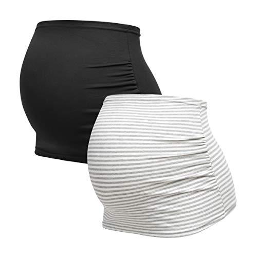 Herzmutter Bauchband für Schwangere - 2er-Set - Baumwolle - Umstands-Schwangerschafts-Bauchbänder - Nieren-Rückenwärmer-Shirtverlängerung - Einfarbig-Gestreift - 6000 (Schwarz/Gestreift, M)