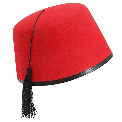 Unisex Red Fez Hat Tarboosh Tommy Cooper Moroccan Turkish Fancy Dress Accessory