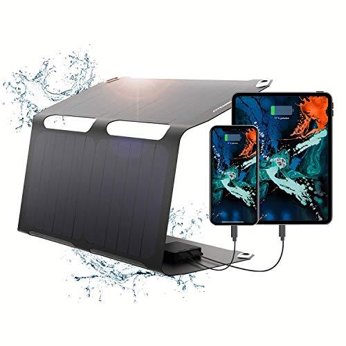SunnyBAG SUNBOOSTER | Faltbares Solar-Modul mit 21 Watt Leistung | Unterwegs umweltfreundlich Laden mit Solar-Energie | Wasserfest und leicht | 2 USB-Ausgänge | 49x31x0,2 cm