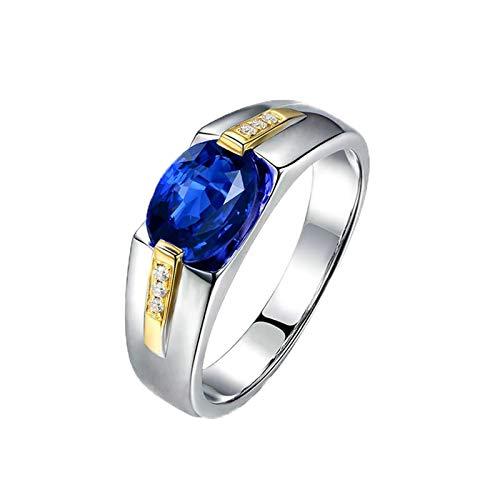 Bishilin Anillos de Oro Blanco 750 Alianza de Boda de 18K Clásico Bandas de Boda Azul Zafiro Diamante Anillo de Compromiso de Boda Forma Ovalada Joyas de Aniversario Muy Pulidas Plata Azul