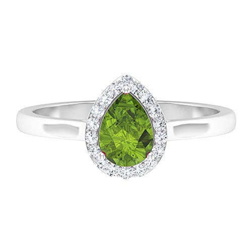 Rosec Jewels 14 quilates oro blanco pera redonda Green Peridoto/Olivino Diamond