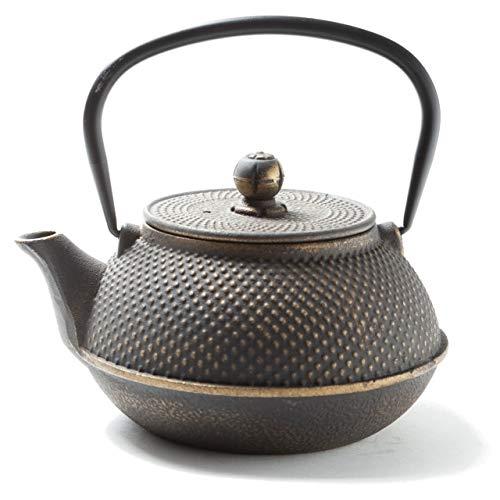 Tealøv TEEKANNE GUSSEISEN 800 ML | Gusseiserne Teekanne Im Japanischen Stil | Teekanne Guss mit Sieb aus Edelstahl | Hervorragende Wärmespeicherfähigkeit | Robust | Langlebig | Arare | Gold