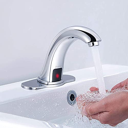 Dalmo Automatic Sensor Touchless Bathroom Sink Faucet with Hole Cover Plate, Chrome Hands Free Bathroom Water Tap with Control Box and Temperature Mixer, 1-Hole/3-Hole Vanity Faucet, Battery Powered