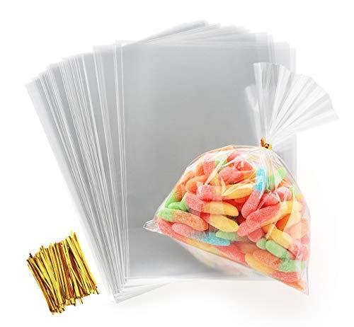 ilauke Sac Plastique Transparent 200pcs Sac OPP 15x20cmSachet Bonbon en Cellophane Sachet Transparent Cadeau avec Liens Torsadés 10cm pour Biscuit Bonbons Perles Bijoux Chocolats Cadeau