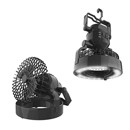 Wakeman LED Lantern, 2 in 1 Battery Powered Fan and Lantern Outdoors (Emergency Light, Portable Fan, Camping Gear for Hiking, Fishing, and Outages), Black, 6.25