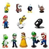HONGECB Super Mario de juguete Figuras, Hermano Mario Figuras de Acción Juego, Cupcake Topper Figures Decoración para Tartas de Juguetes, Cumpleaños Decoración de La Torta del fiesta, 12 Piezas