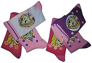 Tangled, Rapunzel - Pack de 6 pares de calcetines para niña con estrellas blanco / rosa / violeta de la serie para niños