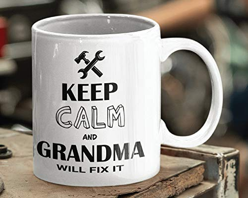 Taza de café de cerámica de 325 ml con texto en inglés 'Keep Calm and Grandma Will Fix It', para regalo de abuela, para padre, taza para marido, taza de café para hombre