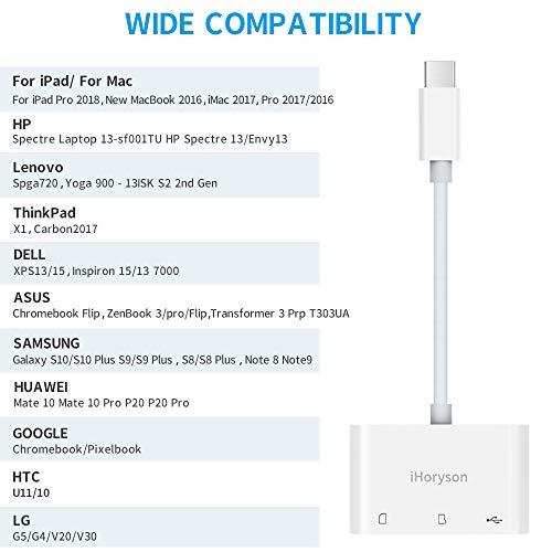 USB C Kartenleser, iHoryson 3 in 1 USB C Card Reader Adapter mit SD/TF Kartenleser und USB 3.0 Port für MacBook Pro 2017/2019, iPad Pro, iMac 2017, Lenovo Yoga, DELL, Samsung, Huawei, Chromebook, LG