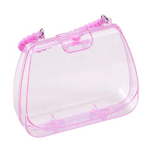 Qianyou Schmuckschatulle für Mädchen, Rosa Kinder Handtasche Aufbewahrungsbox Plastik Transparent Schmuckbox für Haarspange/Haarring/Ohrringe/Halskette Süß Spielzeug Geschenk (Groß)