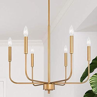 "LOG BARN Gold Chandelier, Brass Chandelier, Modern Dining Room Lighting Fixtures for Sitting Room, Bedroom, 6-Light, 22.5"" Dia"