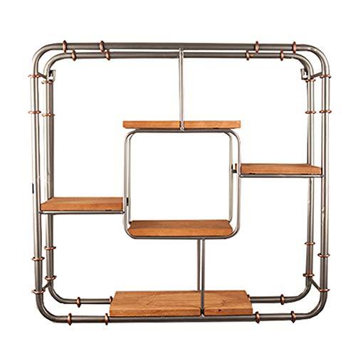 WXQIANG Estantes flotantes para montar en la pared, de hierro industrial, de viento, de madera maciza, estilo retro, barra de restaurante, multicapa, duradero y protector (tamaño: 61 x 15 x 61 cm)