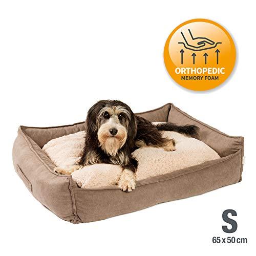 JAMAXX Premium Hundebett Orthopädisch Memory Visco Schaumstoff, Waschbar Wendekissen Wasserabweisend/Hundekörbchen Weicher Samtartiger Sofa Stoff Hundekissen Hundekorb PDB2002 (S) 60x50, braun