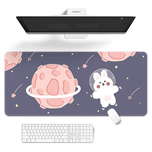 Mouse Pad,Cartoons Cute Keyboard Pad,32' x 12'Extended Desk Mat,Large Kawaii Gaming Mousepad with Non-Slip Rubber Base,Durable Stitched Edges Waterproof Mat for Office Home Work Gamer (D)