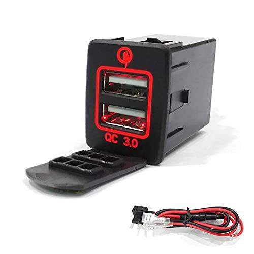 Cargador de coche USB DealMux, 30 × 23,5 mm, 12 V, carga rápida 3,0, cargador de coche USB dual, adaptador de corriente para tableta de teléfono inteligente Nissan