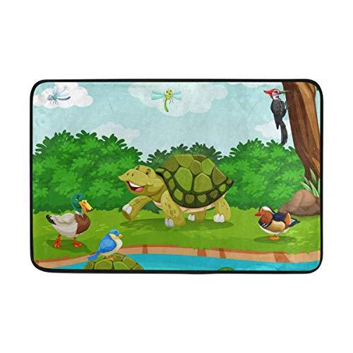 Felpudo de Dibujos Animados de Tortuga Pato árbol río, Sala de Estar Dormitorio Cocina baño Decorativa Alfombra Estampada de Espuma Ligera