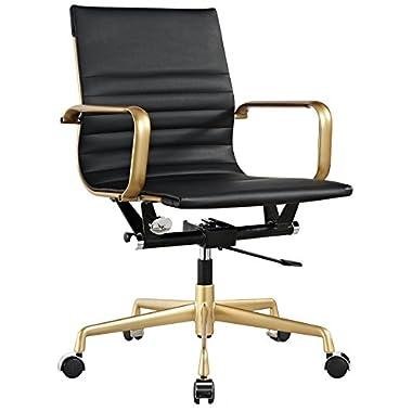 Meelano M348 Vegan Leather Office Chair, Gold/Black