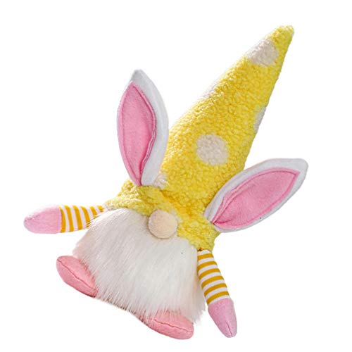 Amosfun Plush Lighted Bunny Gnomes Easter Plush Doll Toys Light Up Swedish Tomte Gnomes Rabbit Doll Spring Easter Party Favors Decoration Size S (Yellow)