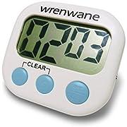 Wrenwane Digitaler Küchentimer mit Großem Display und Ziffern - Lauter Alarm - Time Timer - Küchenwecker - Kurzzeitmesser - Eieruhr Timer - Timer Digital - in Weiß