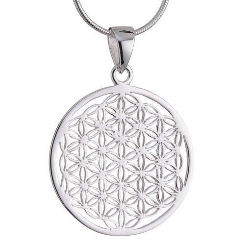Vinani Anhänger Lebensblume Blume des Lebens Mandala klein mit Schlangenkette 50 cm Sterling Silber 925 Kette Italien ALB-S50