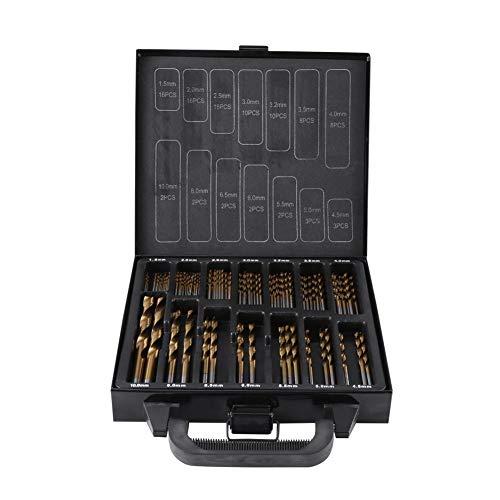 Juego de 99 brocas HSS de alta calidad, con revestimiento de titanio de alta velocidad, con caja negra, 1,5 mm a 10 mm
