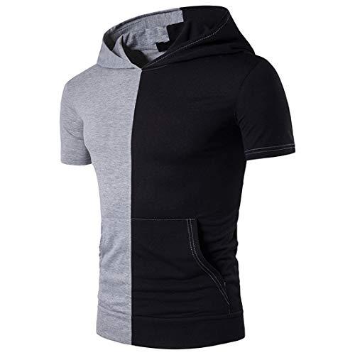 JPDD Men Summer T-Shirt Hipster Hip Hop Lightweight Hoodies Drawstring Short Sleeve Buttons Patchwork Pure Color Polo Shirts Casual Classic Sweatshirt Hooded Shirt Pullovers Men Short Sleeve